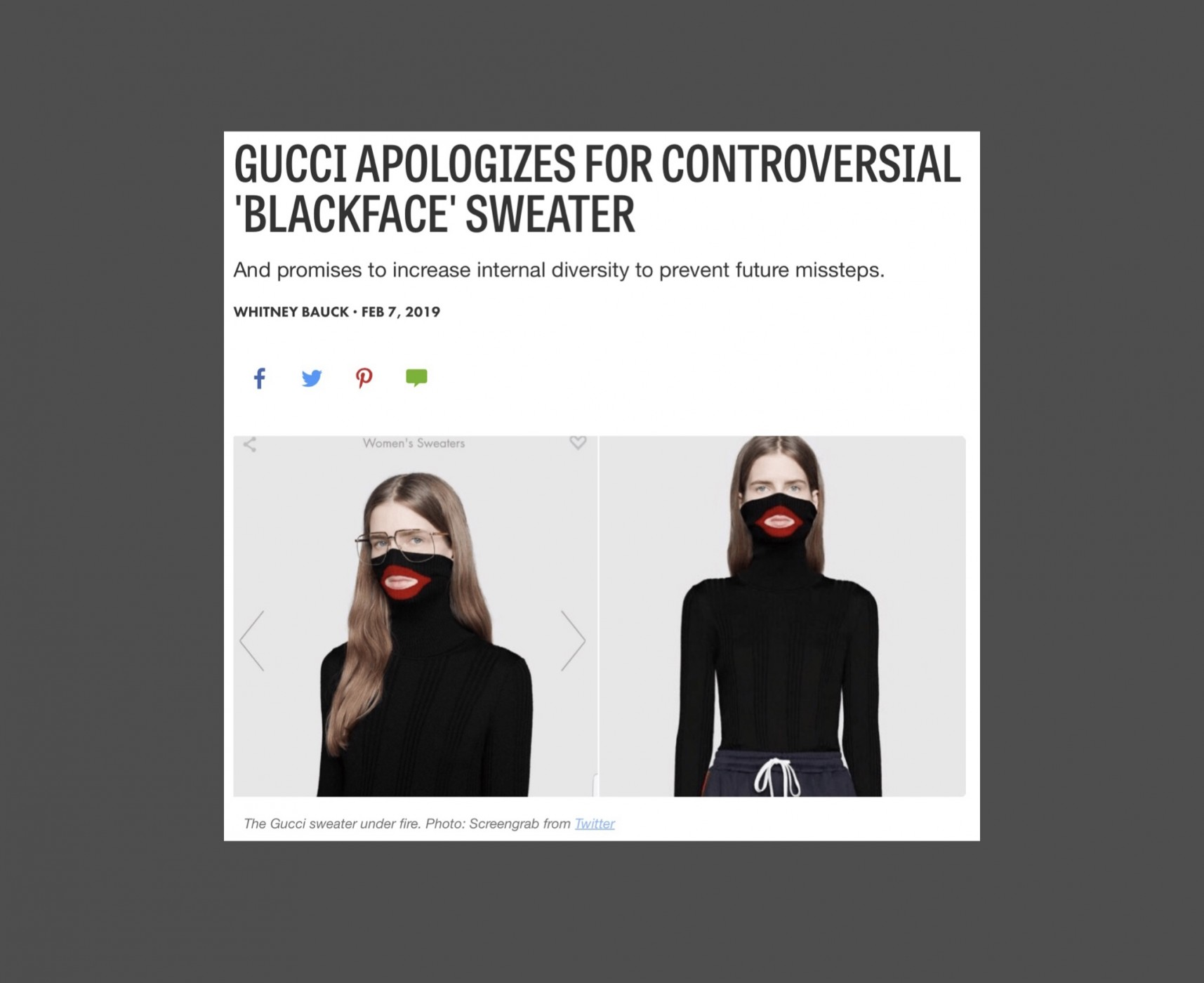 21bbb838c20 Gucci's blackface scandal   Clothes With Stories